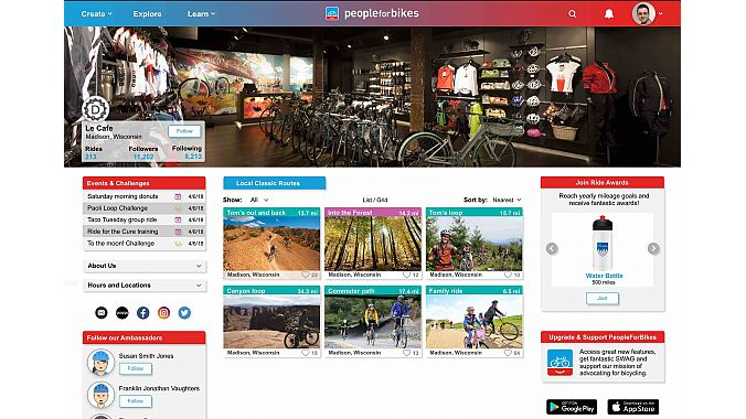 Any business or individual can create a page in the PeopleForBikes Ride Guide, where ride routes, events, challenges and other information can be uploaded.