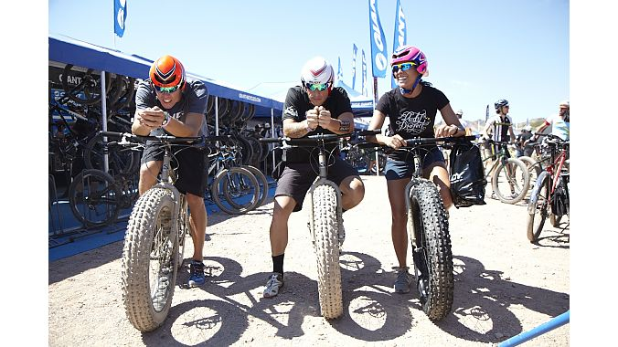Rudy Projects Andrew Deriemer, Richard LaChina and Heidi Amundson try out aero helmets on fat bikes.