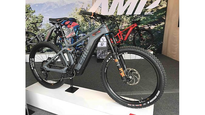 The BMC Trailfox AMP is built on 27.5-plus wheels and is powered by Shimano's STEPS motor and battery system.