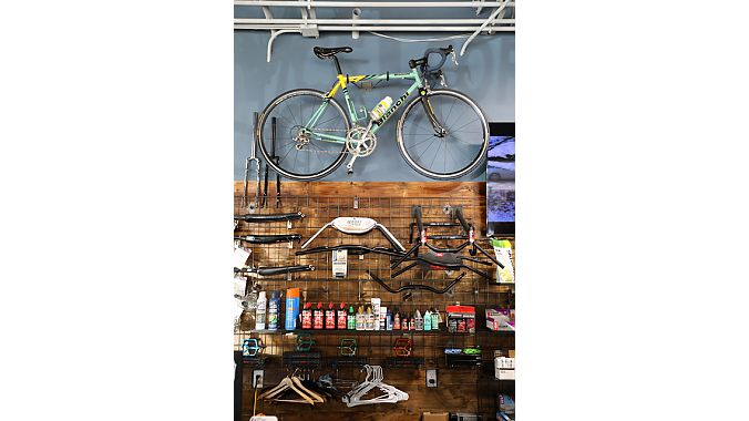 Velo+ features a rotating display of classic bikes, including this Bianchi owned by Marco's father.