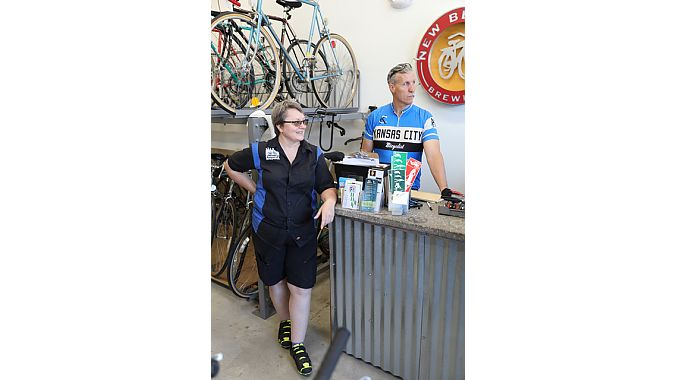 RevolveKC's executive director Theresa Van Ackeren and operations manager Sam Swearngin. Van Ackeren also owns Family Bicycles, and Swearngin also was our ride leader Tuesday.