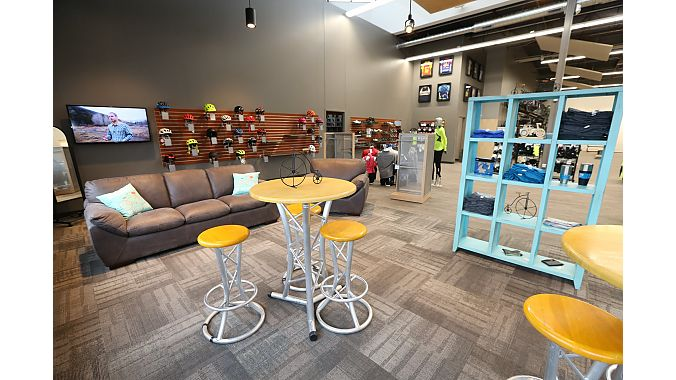 The shop also includes a customer lounge.