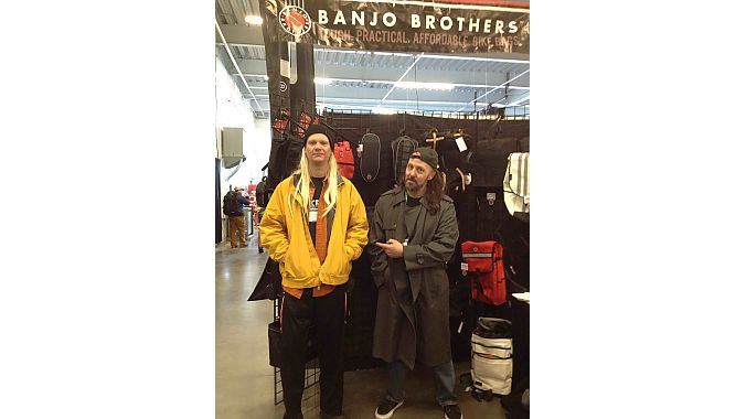 Local Minneapolis bag maker Banjo Brothers attended Frostbike for the first time as a QBP vendor. Co-owners Eric Leugers (left) and Mike Vanderscheuren came in costume as Jay and Silent Bob, fictional characters in several films including Dogma and Jay and Silent Bob Strike Back.