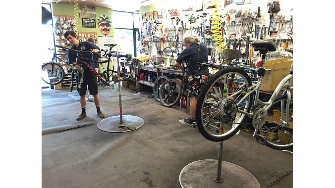 The Bike Shop, founded as a hardware store in the Coast to Coast chain in 1954, switched to selling bikes exclusively in 1994. The full-line shop prides itself on providing same-day or next-day service, so it keeps a deep stock of parts and takes advantage of one-day shipping from QBP's and J&B Importers' distribution centers in Denver.