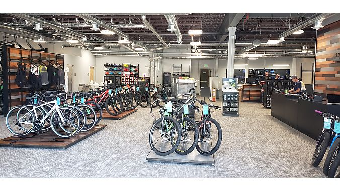 The store stocks mostly entry to mid-level mountain bike, road, fitness and kids' bikes, and a large selection of e-bikes from Specialized, and a few higher-end Santa Cruz, Juliana and Yeti mountain bikes.