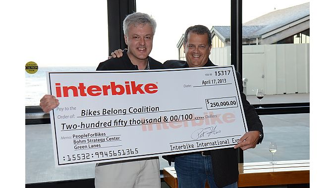 Bikes Belong's Tim Blumenthal, left, and Interbike show director Pat Hus
