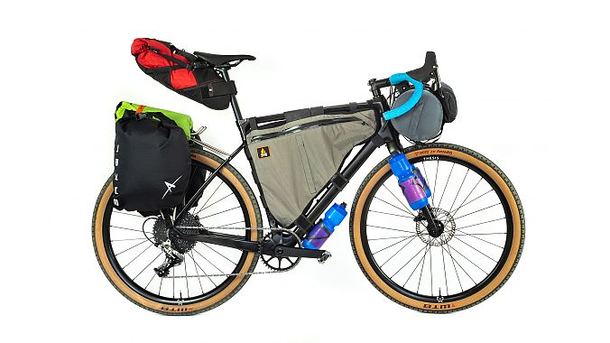 The Thesis bike set up for bikepacking.