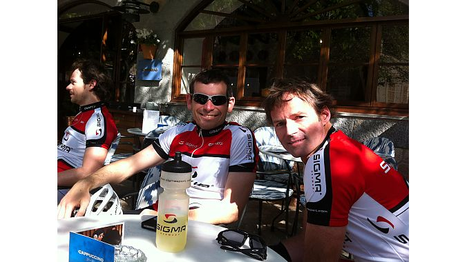 Sigma USA managing director Brian Orloff and Competitor Group's Kurt Hoy during a ride break at Valldemossa, a small town in Mallorca.