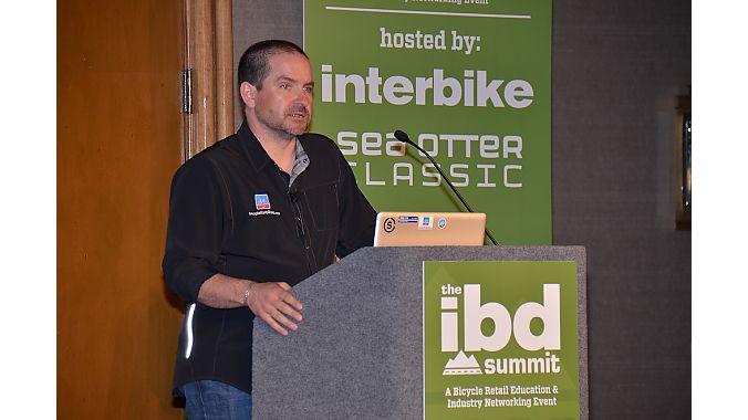 Bike Belong's Bruno Maier delivers an address on advocacy and green lanes