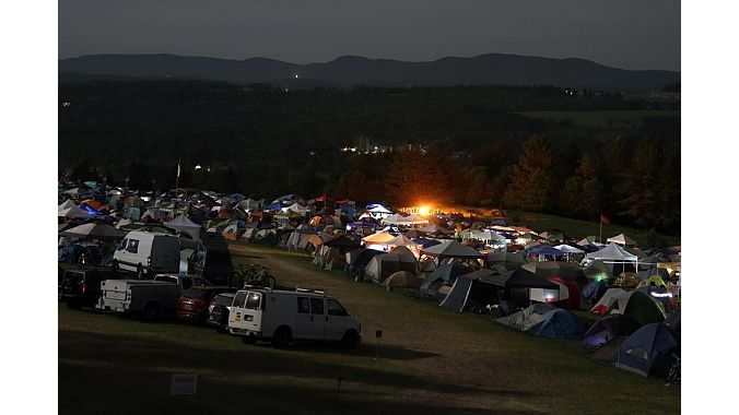 Night falls on the NEMBAfest campground.