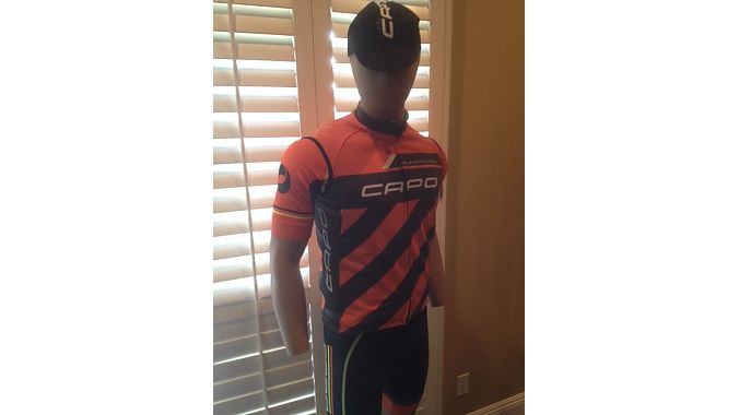 Capo's Super Corsa SL (Speed Luminescence) Wind Vest looks like normal cycling gear until light hits it.