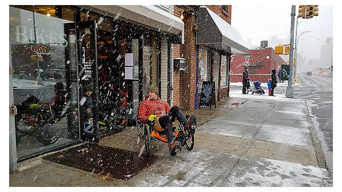 718 hosted a snowy Catrike demo on Bike Shop Day.