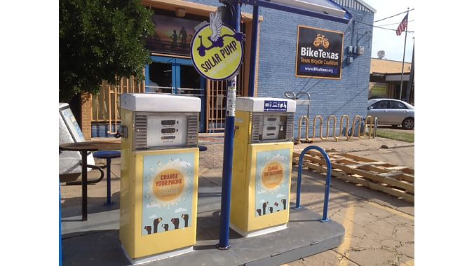 We dropped in mid-morning on the offices of advocacy group Bike Texas, where a free solar charging station for e-bikes and devices welcomes visitors.