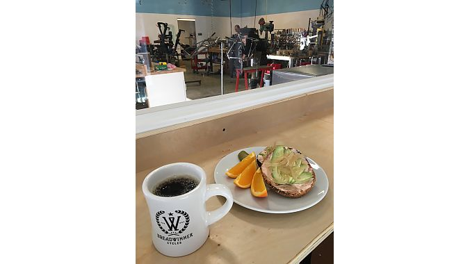 The cafe serves a customer Breadwinner blend from Water Avenue Roasters, as well as sandwiches, customizable bagels and toasts, other baked goods, beer and wine.