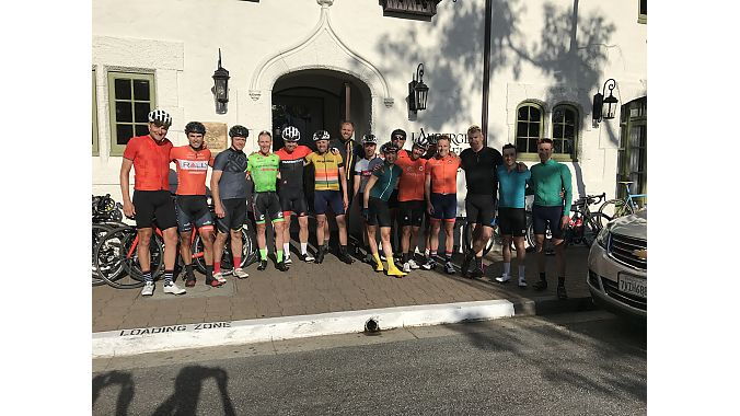 A group of athletes and chefs rode from San Francisco to Carmel, California, to attend Sea Otter, including Yuri Hauswald, Neil Shirley, Ted King and chef Justin Cogley, who provided finish line food at his restaurant Aubergine at L'Auberge Carmel.