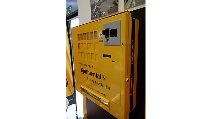 Continental's coin-operated innertube automat currently is available only in a version to accept euro coins, but the company said it could be modified to accept other currencies. Conti has sold a few hundred of them around Europe. Usually retailers set them up away from their stores, near trailheads or other spots. We can think of a few stretches of wilderness where such a machine would come in handy.