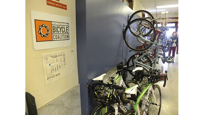 We maxed out the 10th-floor bike parking in our visit to the San Francisco Bicycle Coalition.