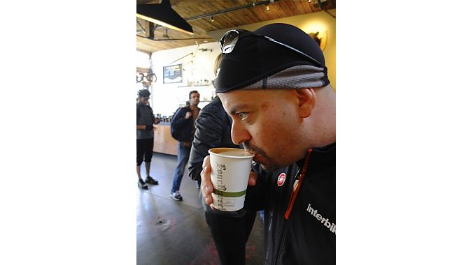 Interbike's Justin Gottlieb caffs up.