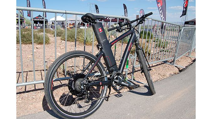 The Swiss designed eFlow electric bike caught some eyes at the Currie Technologies booth. Currie is distributing the 500-watt pedal assist bike in the U.S.  under an agreement from its Taiwanese manufacturer Fairly Bikes. Photo: Nicole Formosa