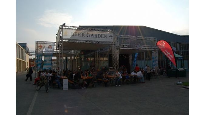 What's a European trade show without a beer garden?