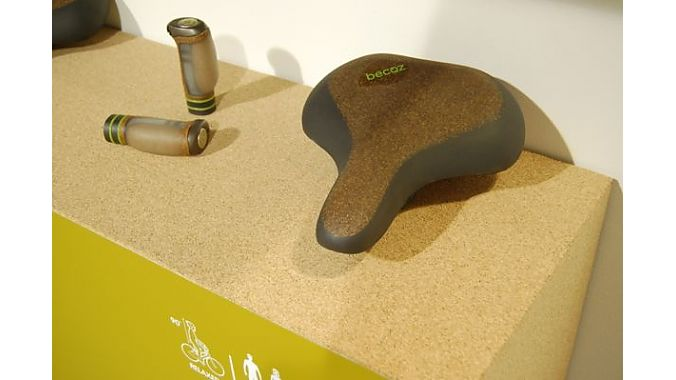 Selle Royal showed its eco-friendly line of Becoz saddles and grips, which replaces gel with more sustainable cork-based material.