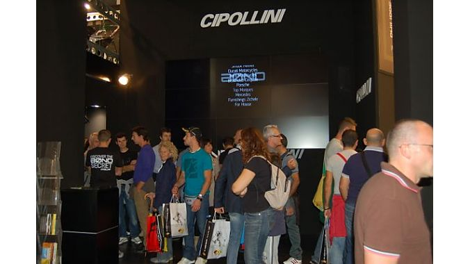 The Cipollini booth drew big crowds on consumer day as people gathered to watch its James Bond ad campaign on the big screen.