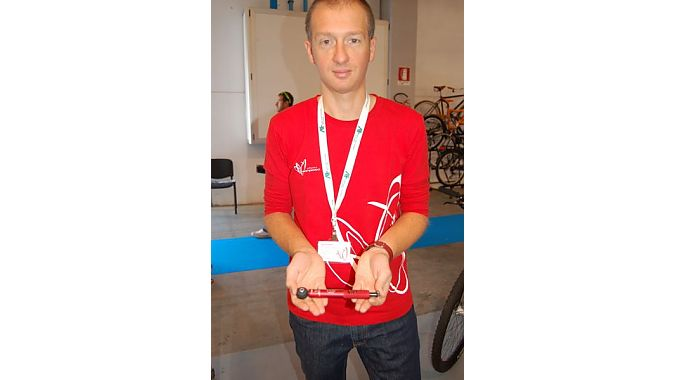 Effetto Mariposa's Alberto De Gioannini with a version of the torque wrench that launched his tools and accessories business five years ago.