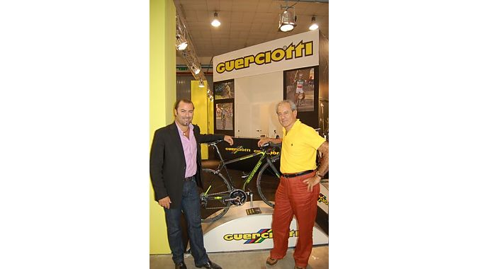 Generations: Guerciotti founder Paolo and his son Alessandro work the brand's booth at ExpoBici. Guerciotti founded the company in 1964 and his son joined the management team in 1999.