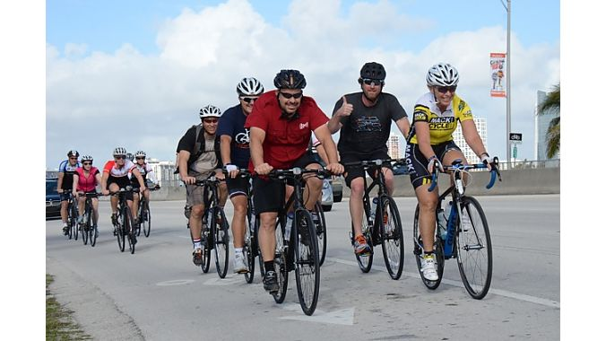 The Dealer Tour crew pounds out the miles — more than 40 on Tuesday in Miami.