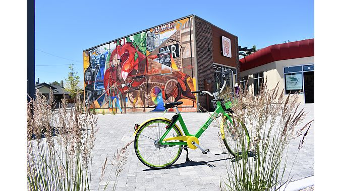 LimeBike's green and yellow bikes are sprinkled throughout Reno. In such a compact city, it's an easy way to get around town.