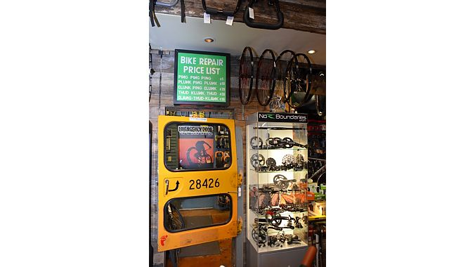 No Boundaries Sport's service area is entered through an old school bus door. The labor rates are non-negotiable.