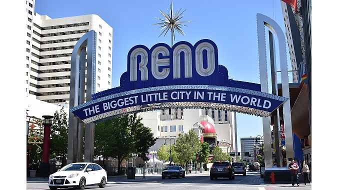 The famed sign on Virginia Street in downtown Reno. Most hotel casinos are clustered downtown. Many have undergone extensive renovations, though you won't be able to tell from their original exteriors.
