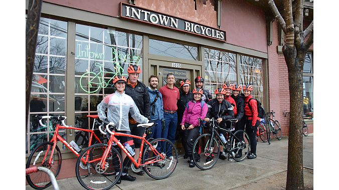 The group outside our first stop, Intown Bicycles.