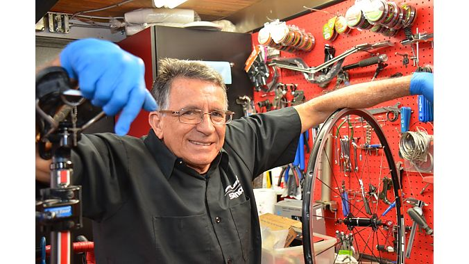 Usmanis Gil was once a member of Cuba's national team and then was Cuba's national team mechanic for decades before immigrating to the U.S. in 2001. He's worked for three owners at the store now known as South Miami Bike Shop. Now 69, his reputation for bike service has kept the store going through tough times.