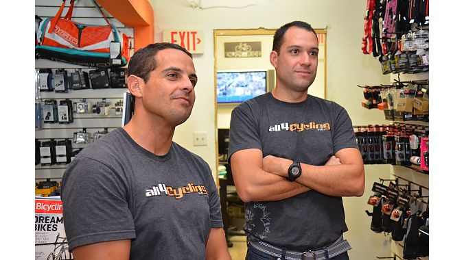 Juan Zambrano (left) and Pedro Navarro have been friends since boyhood and are two of the three partners in All4Cycling, one of the fastest growing retailers in Miami, with three locations and a fourth set to open soon. Navarro said the hardest part of starting a bike business as outsiders (both he and Juan Zambrano are engineers) was learning how to buy and place orders. They said sales reps pushed products without knowing what sells. They've since changed their selection from purely high-end to more mi