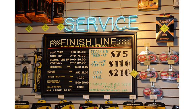 Bicycle South features a vintage Finish Line service menu.