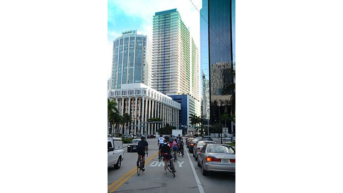 Our group rode across the Venetian Causeway on our way to South Beach and along Ocean Drive, lined with art deco hotels and cafes. Lincoln Road is the hub of high end shopping, where only national chains can afford to set up stores.