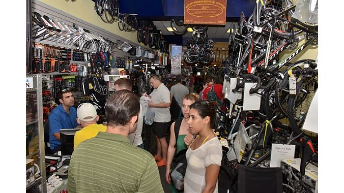 Miami Beach Bicycles was crammed with merchandise — and customers (and Dealer Tour visitors).
