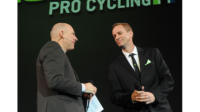 Bob Roll interviewing Cannondale GM Bob Burbank during a two-hour team presentation Saturday night in Hollywood