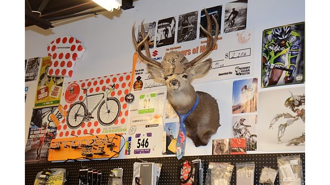 No shop dogs sighted on day one, but Canyon Bicycles had a well-dressed mascot.