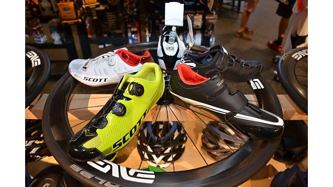 Contender's shoe display caught our eye. It uses several wheels built up with some blemished carbon rims from local supplier Enve.