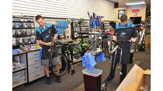The Bike Shoppe's service staff is well trained in mechanical skills. Of the store's roughly 15 employees, nine can rebuild suspension and 12 can bleed a brake.
