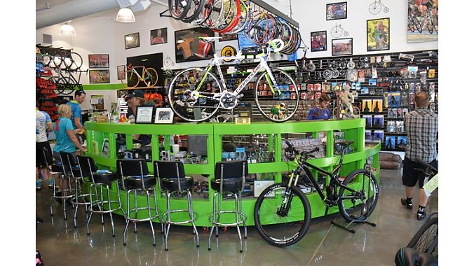 Johnson's store features Cannondale's trademark green.