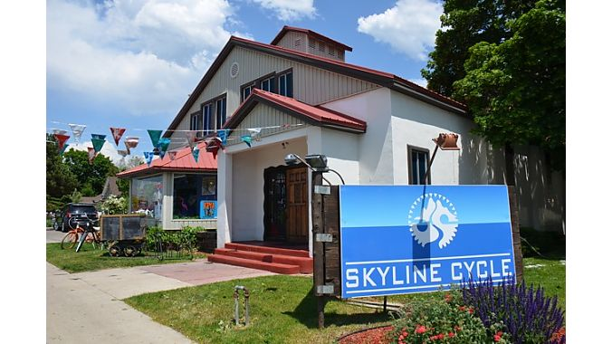 Skyline Cycle is in a former church, and has a relaxed, young vibe inside.
