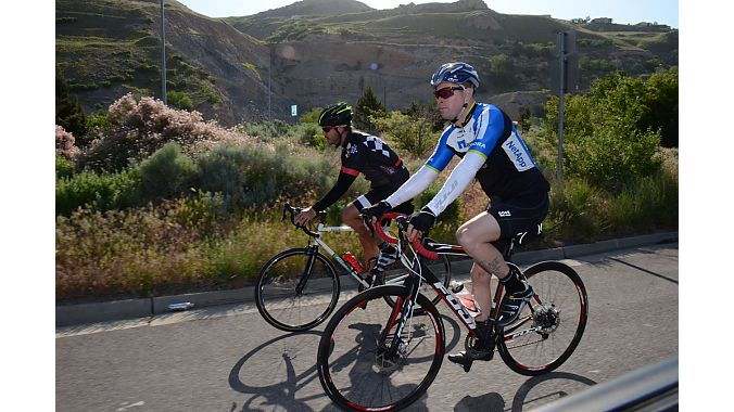ASI's Frank Zimmer and Finish Line's Derek Goltz enjoyed some scenic riding Thursday.
