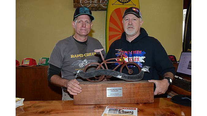 Rapid Creek co-owners Scott Winans and Rondo Buecheler. Winans is president of COPMOBA, the local trail organization, which was inducted into the Mountain Bike Hall of Fame.