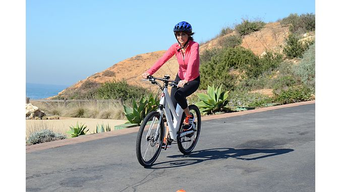 Lisa Rinna tests an e-bike. Photo: Gary Newkirk