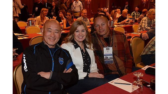 "From left: Giant Global's Tony Lo and Giant USA's Elysa Walk and John ""JT"" Thompson take a break between presentations at the Bicycle Leadership Conference."