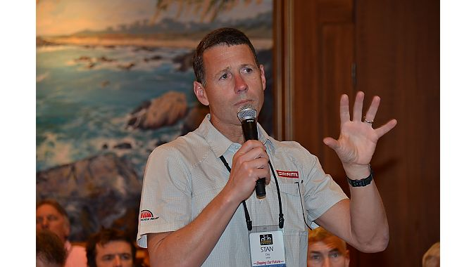 SRAM chief executive Stan Day asks a question during a BLC session.