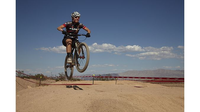 Jamis team racer Erica Tingey gets some air at the Bell track